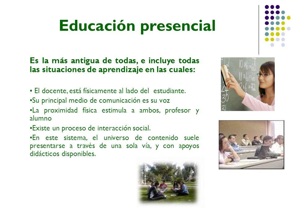 Educación abierta Este sistema incluye situaciones educativas caracterizadas por: La separación del profesor de sus alumnos.