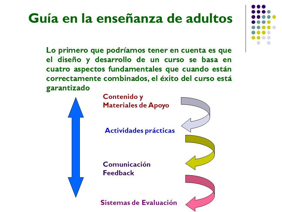 Guía en la enseñanza de adultos Lo primero que podríamos tener en cuenta es que el diseño y desarrollo de un curso se basa en cuatro aspectos fundamen
