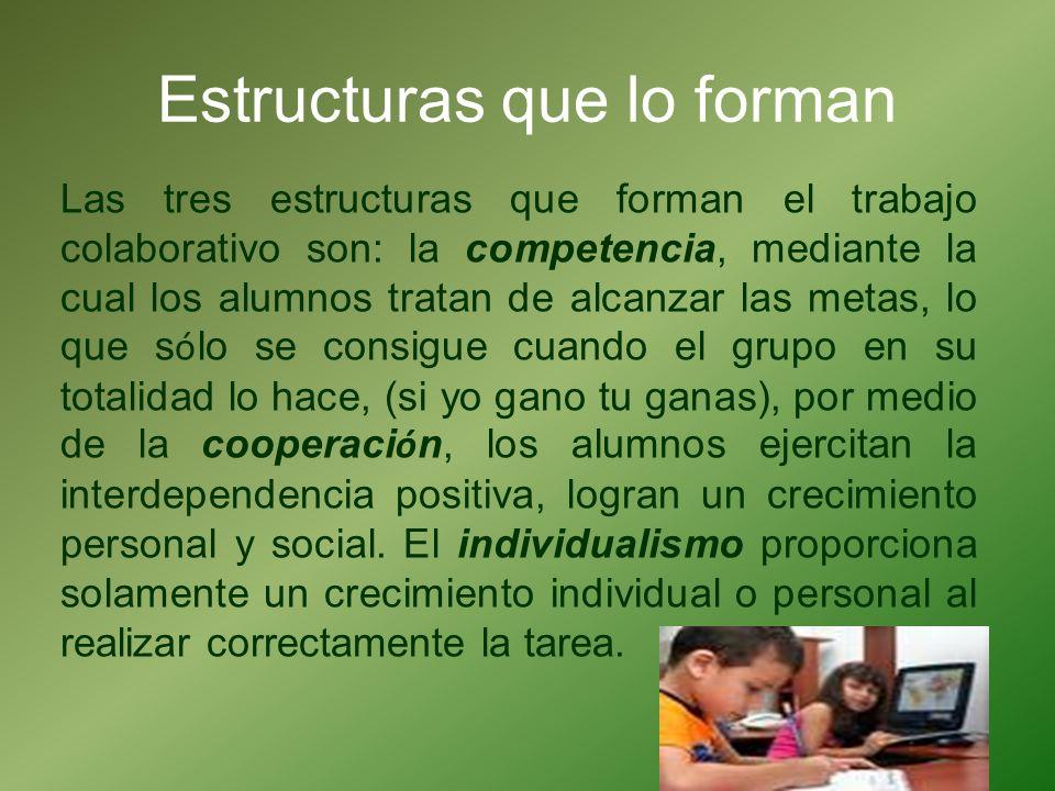Estructuras que lo forman Las tres estructuras que forman el trabajo colaborativo son: la competencia, mediante la cual los alumnos tratan de alcanzar