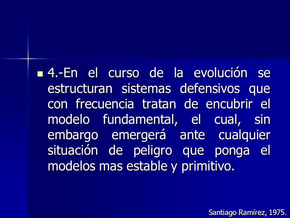 4.-En el curso de la evolución se estructuran sistemas defensivos que con frecuencia tratan de encubrir el modelo fundamental, el cual, sin embargo em