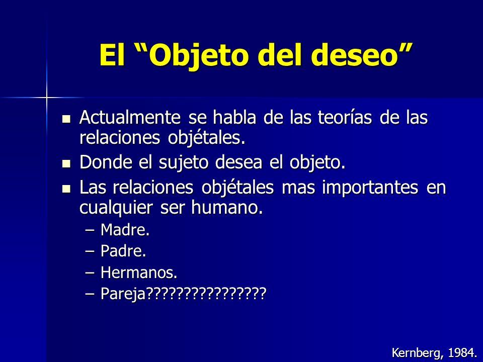 El Objeto del deseo Actualmente se habla de las teorías de las relaciones objétales. Actualmente se habla de las teorías de las relaciones objétales.