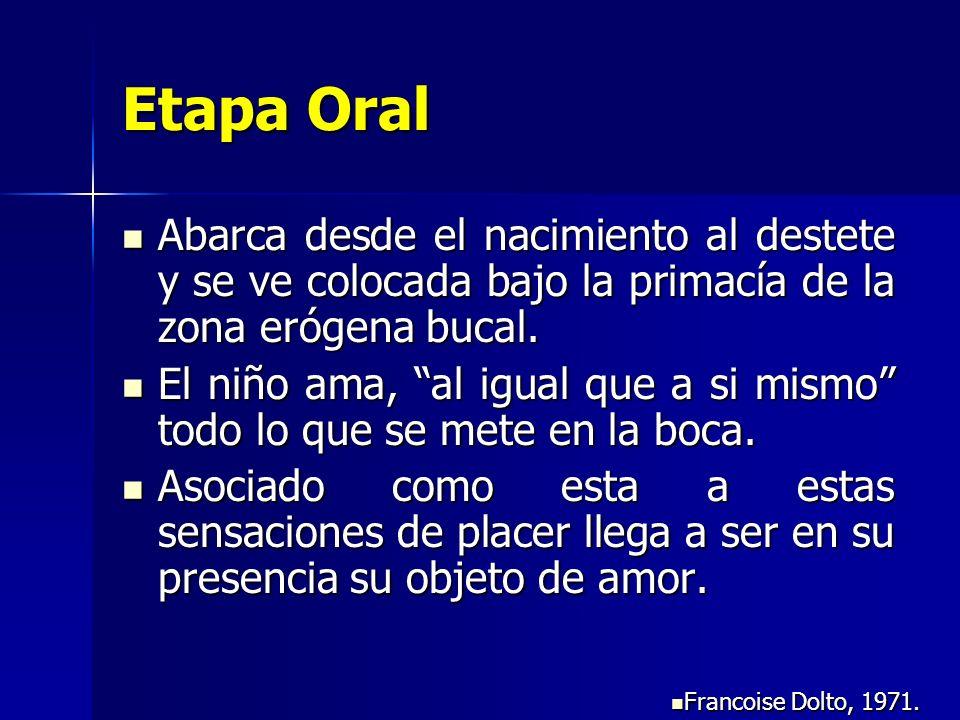 Etapa Oral Abarca desde el nacimiento al destete y se ve colocada bajo la primacía de la zona erógena bucal. Abarca desde el nacimiento al destete y s
