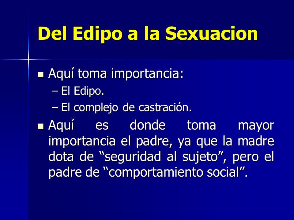 Del Edipo a la Sexuacion Aquí toma importancia: Aquí toma importancia: –El Edipo. –El complejo de castración. Aquí es donde toma mayor importancia el