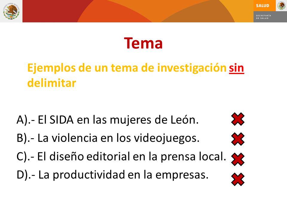 Tema Ejemplos de un tema de investigación sin delimitar A).- El SIDA en las mujeres de León. B).- La violencia en los videojuegos. C).- El diseño edit