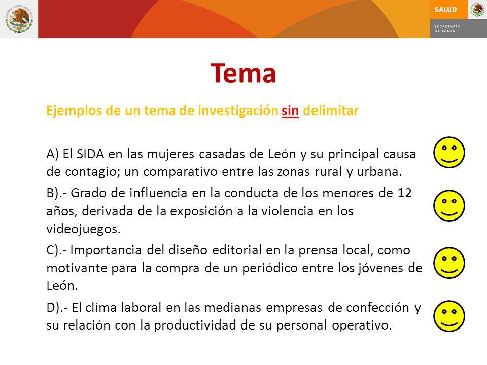 Tema Ejemplos de un tema de investigación sin delimitar A) El SIDA en las mujeres casadas de León y su principal causa de contagio; un comparativo ent