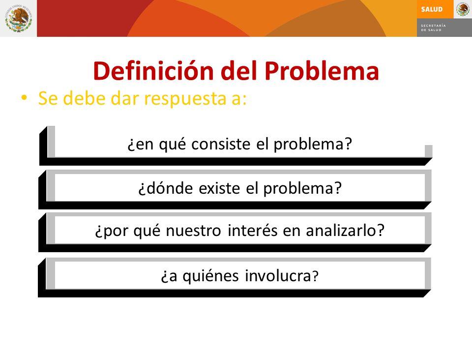 Se debe dar respuesta a: ¿en qué consiste el problema? ¿dónde existe el problema? ¿por qué nuestro interés en analizarlo? ¿a quiénes involucra ? Defin