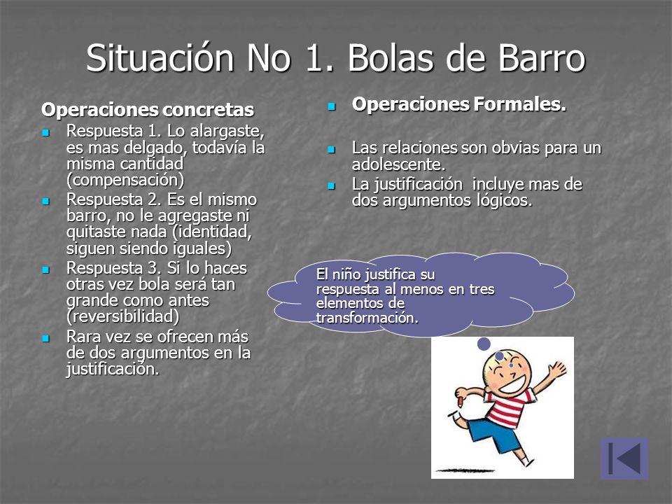 Situación No 1. Bolas de Barro Operaciones concretas Respuesta 1. Lo alargaste, es mas delgado, todavía la misma cantidad (compensación) Respuesta 1.