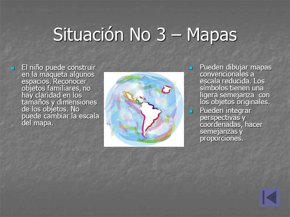 Situación No 3 – Mapas El niño puede construir en la maqueta algunos espacios. Reconocer objetos familiares, no hay claridad en los tamaños y dimensio
