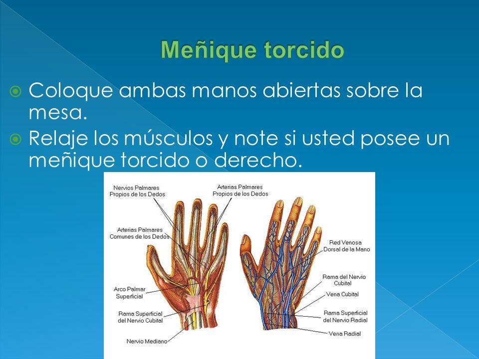 Coloque ambas manos abiertas sobre la mesa. Relaje los músculos y note si usted posee un meñique torcido o derecho.