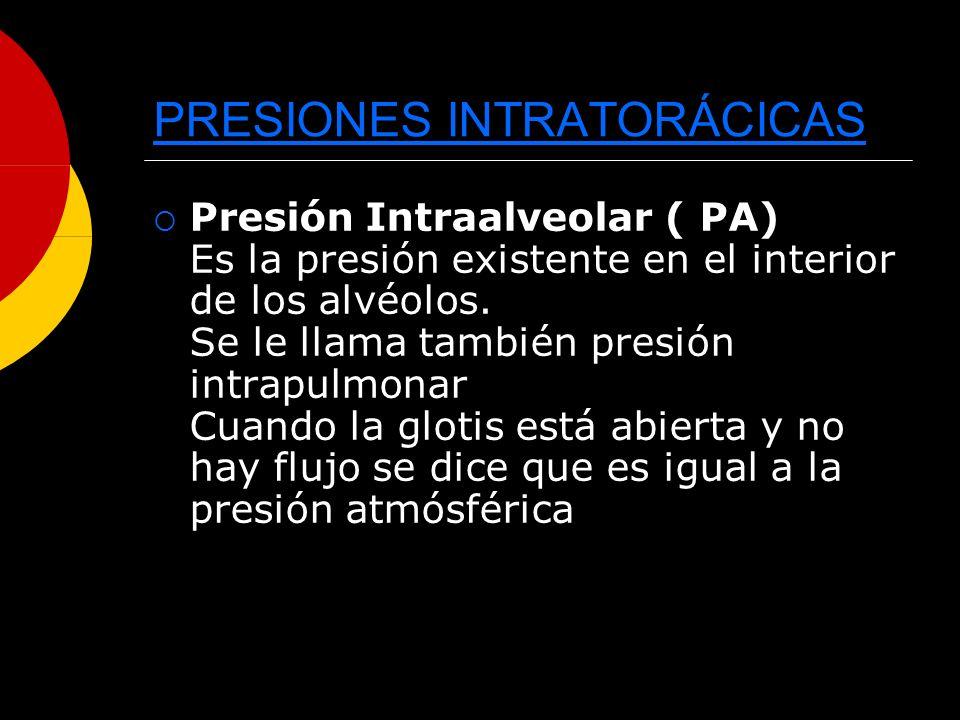 PRESIONES INTRATORÁCICAS Presión Intraalveolar ( PA) Es la presión existente en el interior de los alvéolos. Se le llama también presión intrapulmonar