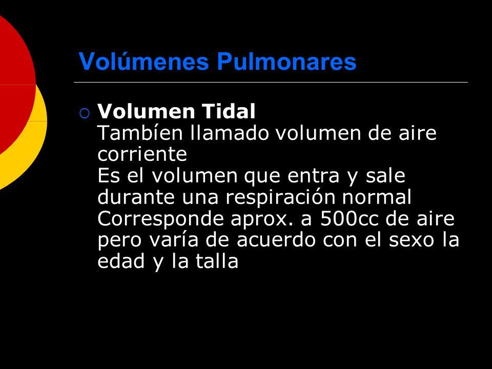 Volúmenes Pulmonares Volumen Tidal Tambíen llamado volumen de aire corriente Es el volumen que entra y sale durante una respiración normal Corresponde