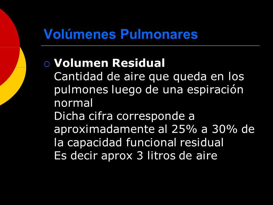 Volúmenes Pulmonares Volumen Residual Cantidad de aire que queda en los pulmones luego de una espiración normal Dicha cifra corresponde a aproximadame