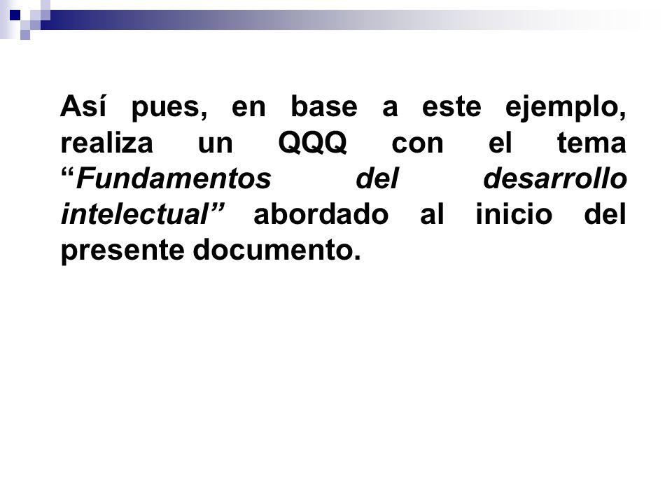 Así pues, en base a este ejemplo, realiza un QQQ con el temaFundamentos del desarrollo intelectual abordado al inicio del presente documento.
