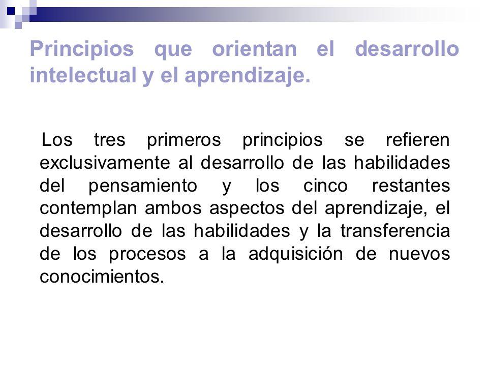 Principios que orientan el desarrollo intelectual y el aprendizaje. Los tres primeros principios se refieren exclusivamente al desarrollo de las habil