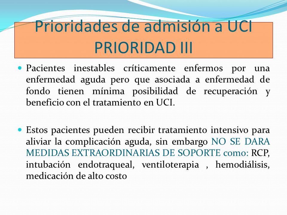 Prioridades de admisión a UCI PRIORIDAD III Pacientes inestables críticamente enfermos por una enfermedad aguda pero que asociada a enfermedad de fond