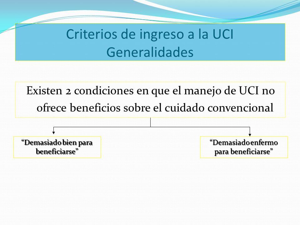 Criterios de ingreso a la UCI Generalidades Existen 2 condiciones en que el manejo de UCI no ofrece beneficios sobre el cuidado convencional Demasiado