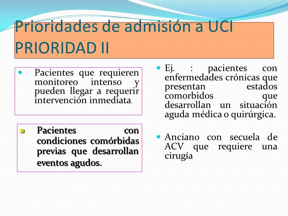 Prioridades de admisión a UCI PRIORIDAD II Pacientes que requieren monitoreo intenso y pueden llegar a requerir intervención inmediata. Ej. : paciente