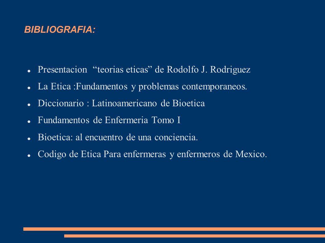 BIBLIOGRAFIA: Presentacion teorias eticas de Rodolfo J. Rodriguez La Etica :Fundamentos y problemas contemporaneos. Diccionario : Latinoamericano de B