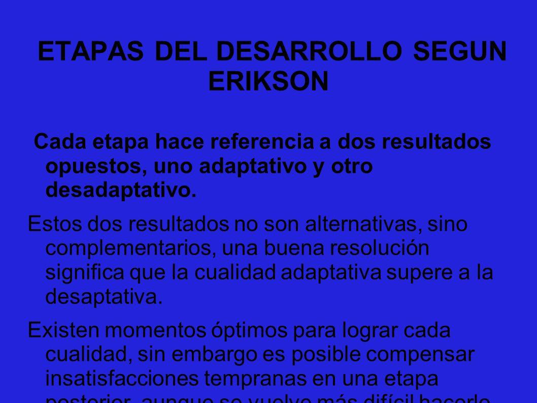 ETAPAS DEL DESARROLLO SEGUN ERIKSON Cada etapa hace referencia a dos resultados opuestos, uno adaptativo y otro desadaptativo. Estos dos resultados no