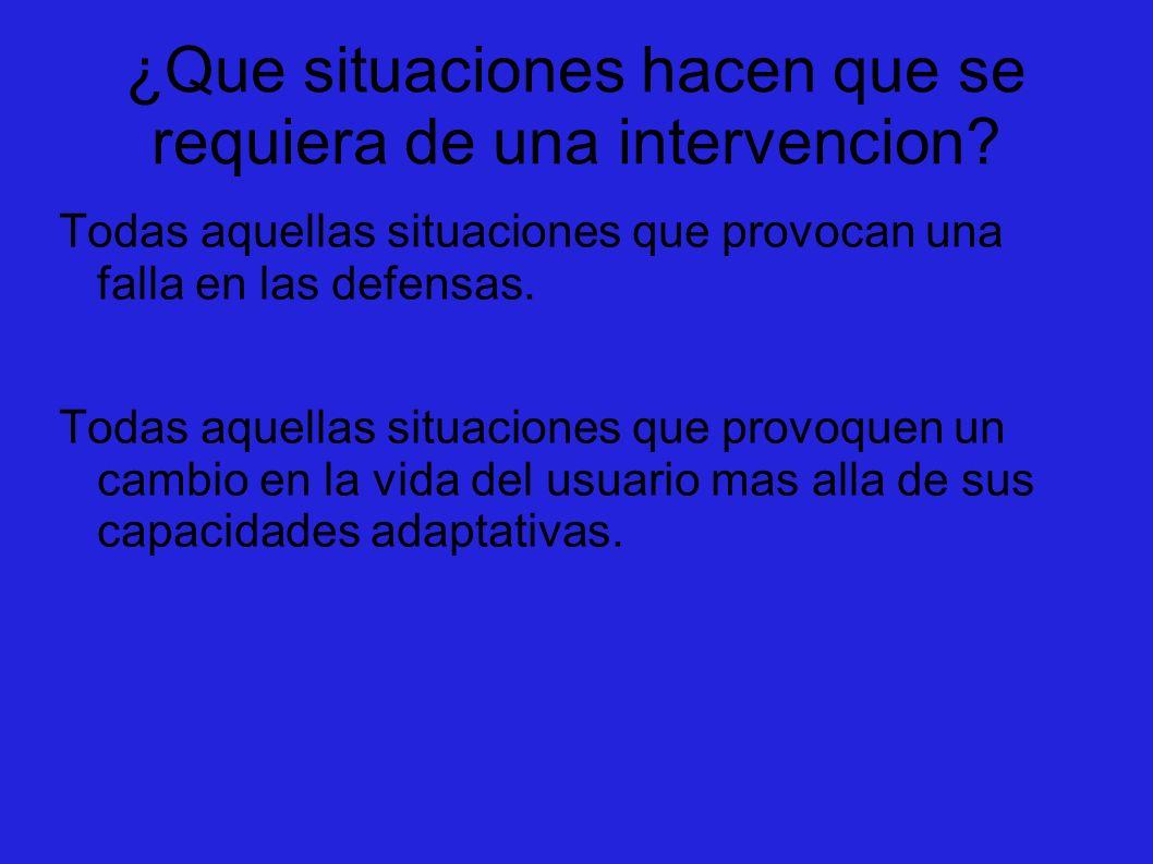 ¿Que situaciones hacen que se requiera de una intervencion? Todas aquellas situaciones que provocan una falla en las defensas. Todas aquellas situacio