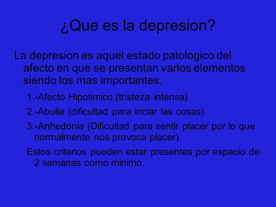 ¿Que es la depresion? La depresion es aquel estado patologico del afecto en que se presentan varios elementos siendo los mas importantes. 1.-Afecto Hi