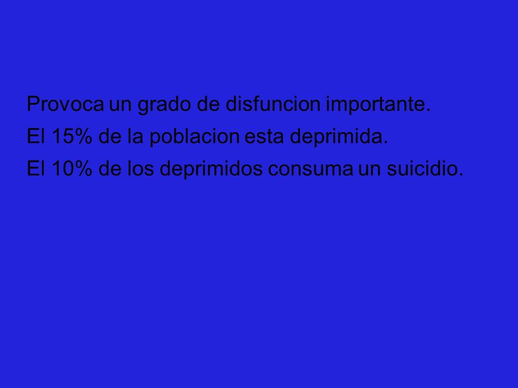 Provoca un grado de disfuncion importante. El 15% de la poblacion esta deprimida. El 10% de los deprimidos consuma un suicidio.