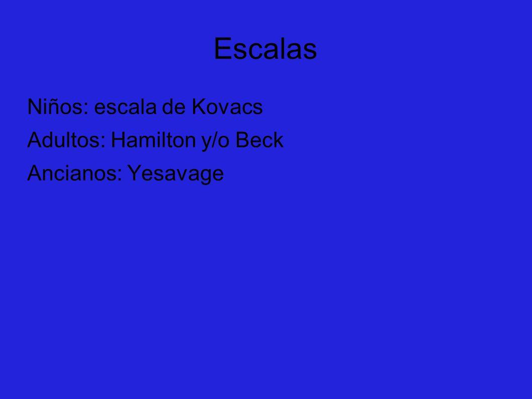 Escalas Niños: escala de Kovacs Adultos: Hamilton y/o Beck Ancianos: Yesavage