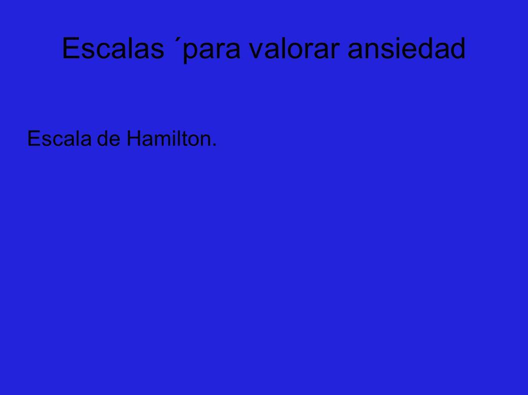 Escalas ´para valorar ansiedad Escala de Hamilton.