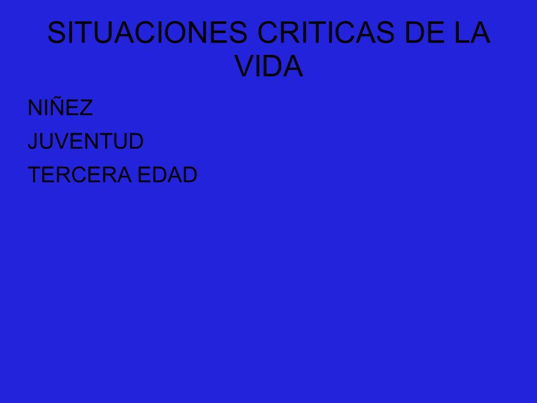 SITUACIONES CRITICAS DE LA VIDA NIÑEZ JUVENTUD TERCERA EDAD