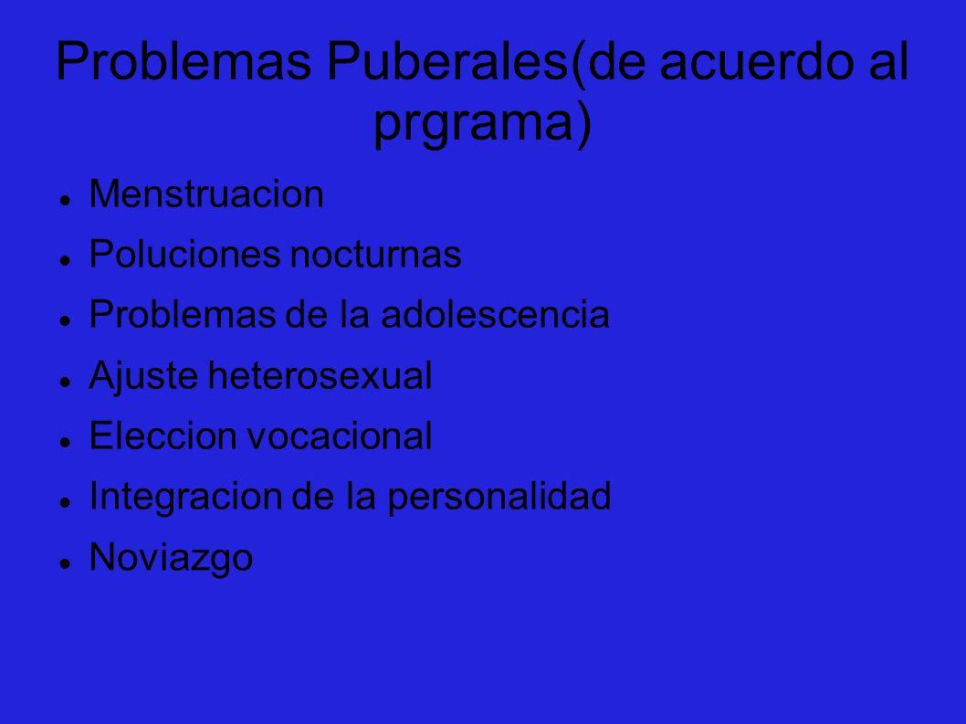 Problemas Puberales(de acuerdo al prgrama) Menstruacion Poluciones nocturnas Problemas de la adolescencia Ajuste heterosexual Eleccion vocacional Inte