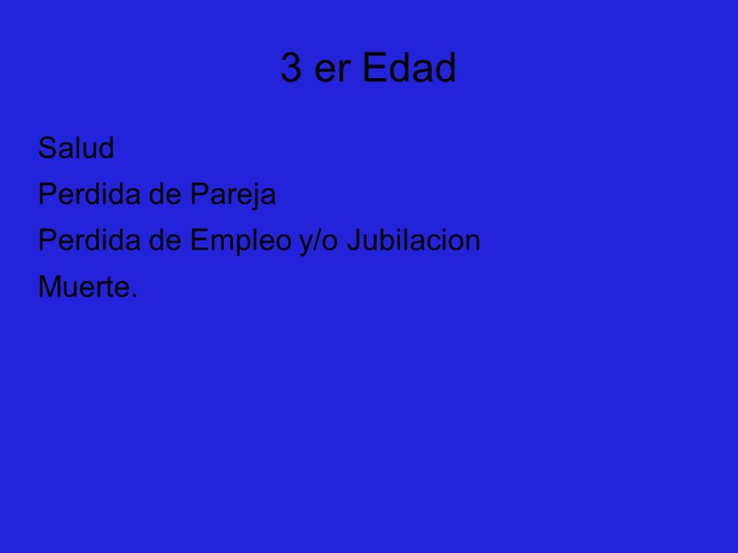 3 er Edad Salud Perdida de Pareja Perdida de Empleo y/o Jubilacion Muerte.
