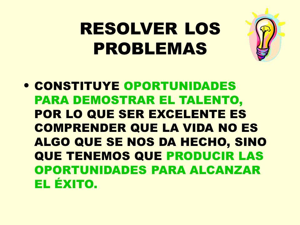 RESOLVER LOS PROBLEMAS CONSTITUYE OPORTUNIDADES PARA DEMOSTRAR EL TALENTO, POR LO QUE SER EXCELENTE ES COMPRENDER QUE LA VIDA NO ES ALGO QUE SE NOS DA
