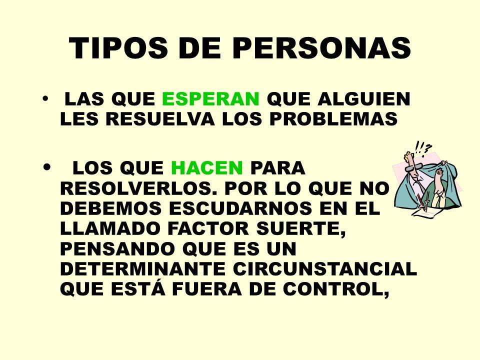 TIPOS DE PERSONAS LAS QUE ESPERAN QUE ALGUIEN LES RESUELVA LOS PROBLEMAS LOS QUE HACEN PARA RESOLVERLOS. POR LO QUE NO DEBEMOS ESCUDARNOS EN EL LLAMAD
