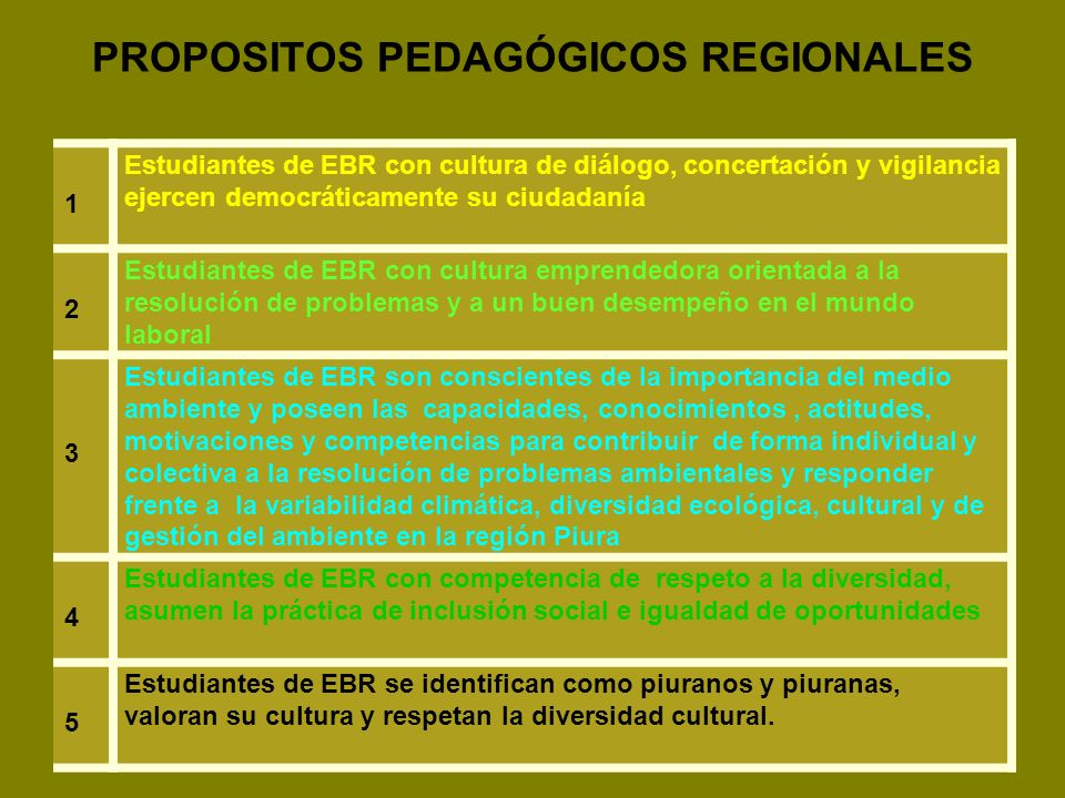PROPOSITOS PEDAGÓGICOS REGIONALES 1 Estudiantes de EBR con cultura de diálogo, concertación y vigilancia ejercen democráticamente su ciudadanía 2 Estu