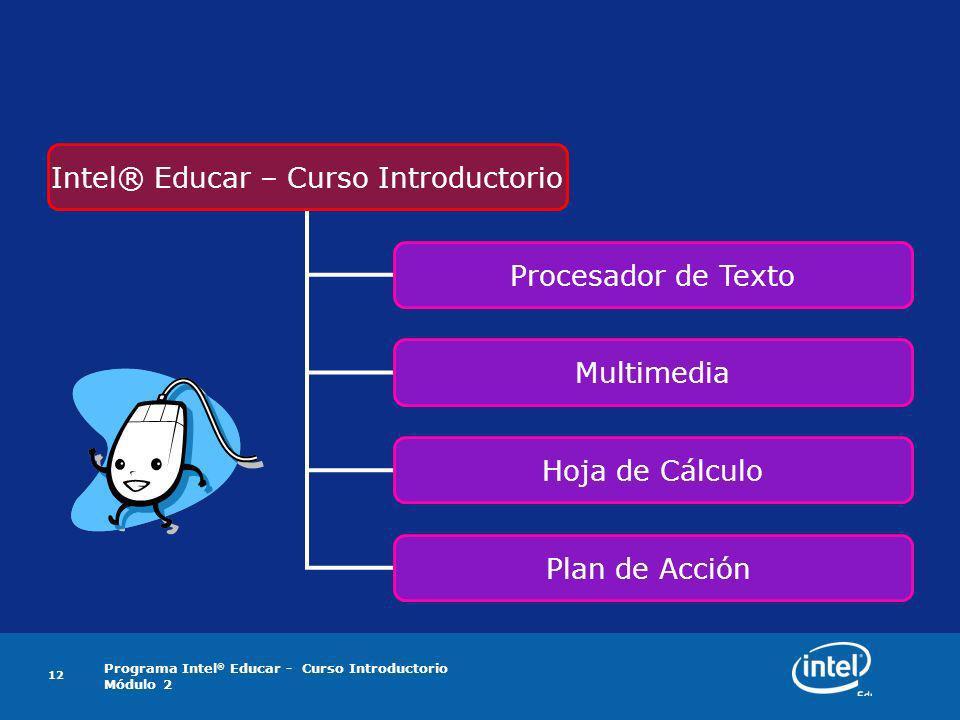 Programa Intel ® Educar - Curso Introductorio Módulo 2 12 Intel® Educar – Curso Introductorio Procesador de Texto Multimedia Hoja de Cálculo Plan de A