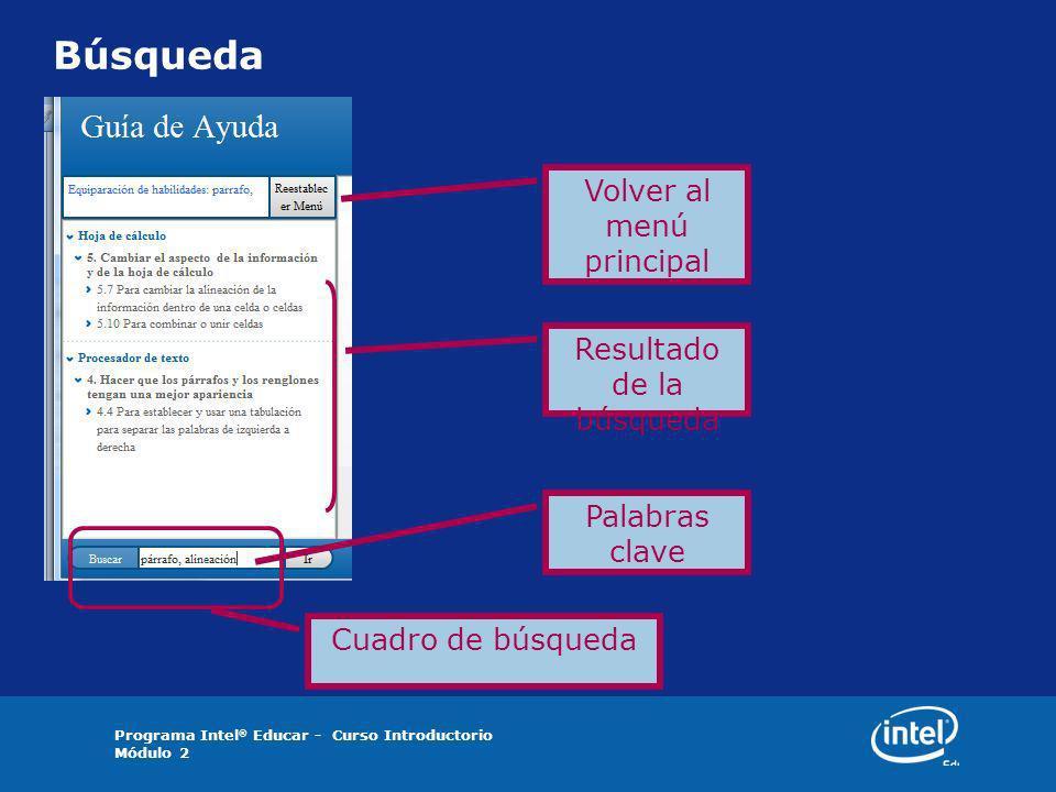 Programa Intel ® Educar - Curso Introductorio Módulo 2 Búsqueda Volver al menú principal Resultado de la búsqueda Palabras clave Cuadro de búsqueda