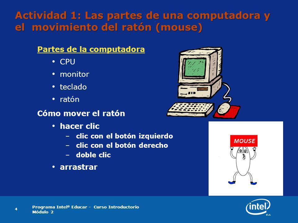 Programa Intel ® Educar - Curso Introductorio Módulo 2 4 Actividad 1: Las partes de una computadora y el movimiento del ratón (mouse) Partes de la com