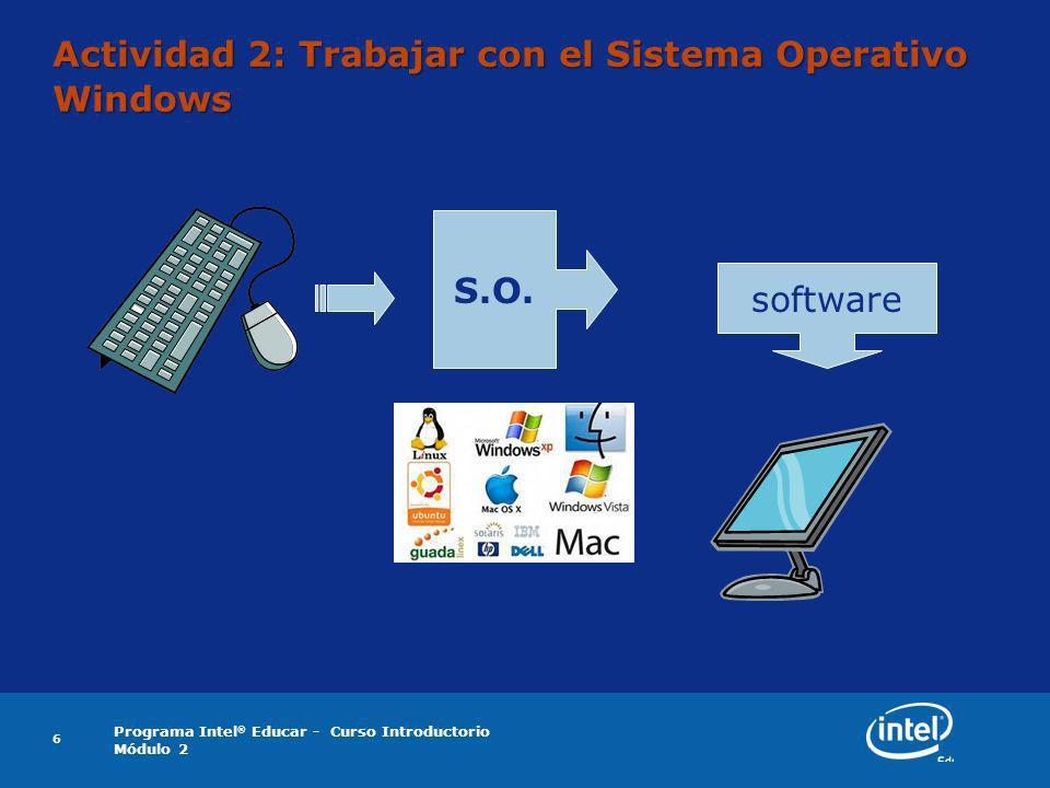 Programa Intel ® Educar - Curso Introductorio Módulo 2 7 El escritorio de Microsoft Windows ¿Qué imágenes o iconos se visualizan en el escritorio de su computadora?