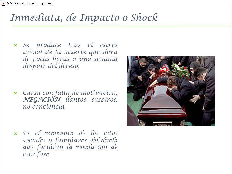 Inmediata, de Impacto o Shock Se produce tras el estrés inicial de la muerte que dura de pocas horas a una semana después del deceso. Cursa con falta