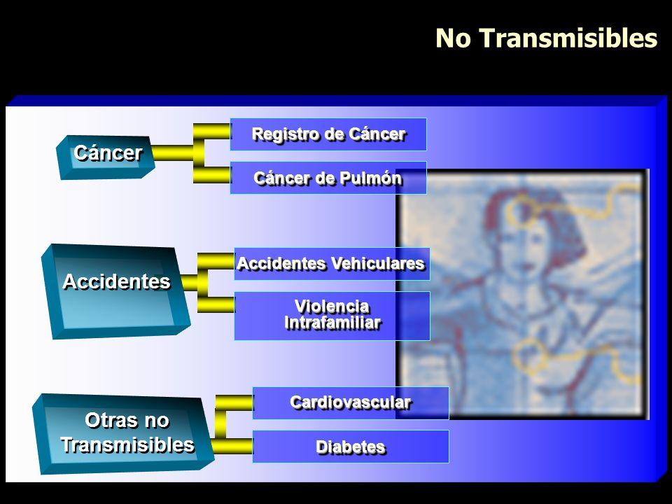 No Transmisibles Accidentes Vehiculares Violencia Intrafamiliar Accidentes Cáncer de Pulmón Registro de Cáncer Cáncer CardiovascularCardiovascular Dia