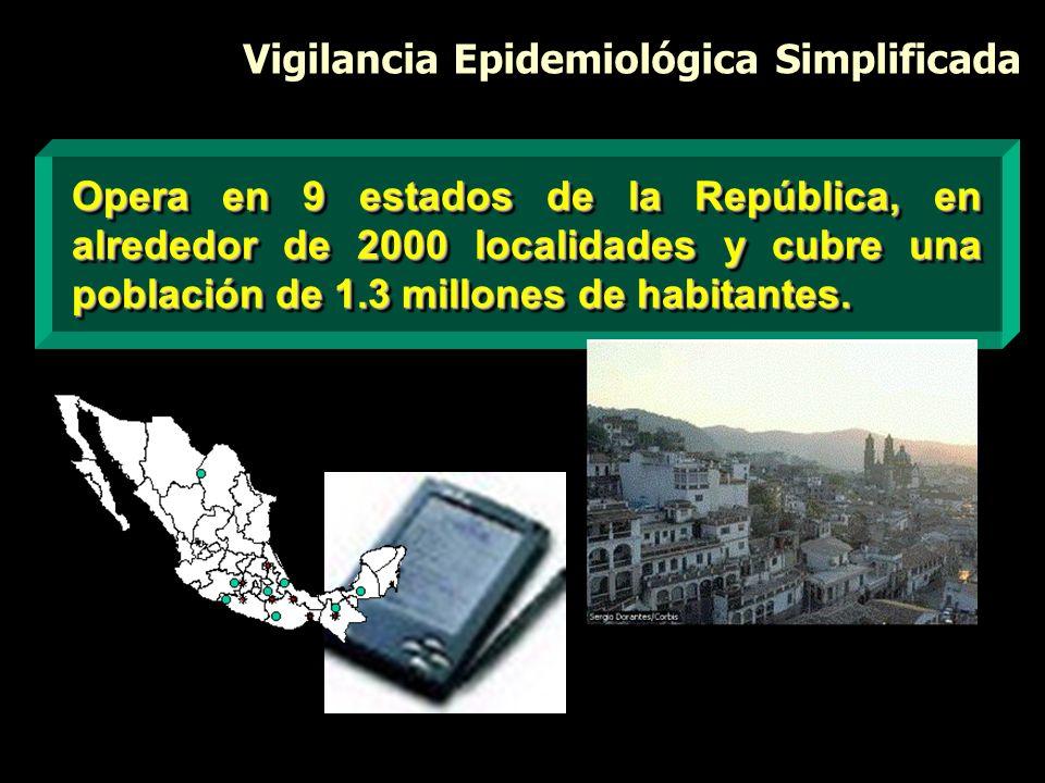 Vigilancia Epidemiológica Simplificada Opera en 9 estados de la República, en alrededor de 2000 localidades y cubre una población de 1.3 millones de h