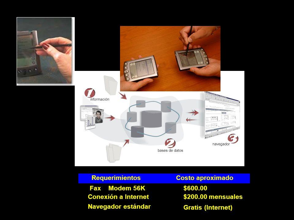 RequerimientosCostoaproximado FaxModem56K$600.00 Conexión a Internet$200.00 mensuales Navegador estándar Gratis (Internet)