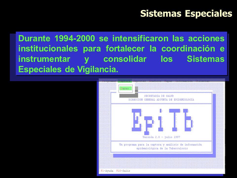Sistemas Especiales Durante 1994-2000 se intensificaron las acciones institucionales para fortalecer la coordinación e instrumentar y consolidar los S