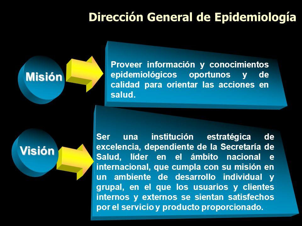 Misión Proveer información y conocimientos epidemiológicos oportunos y de calidad para orientar las acciones en salud. Dirección General de Epidemiolo