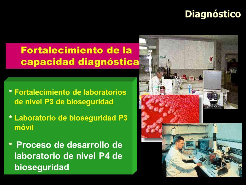 Diagnóstico Fortalecimiento de laboratorios de nivel P3 de bioseguridad Laboratorio de bioseguridad P3 móvil Proceso de desarrollo de laboratorio de n