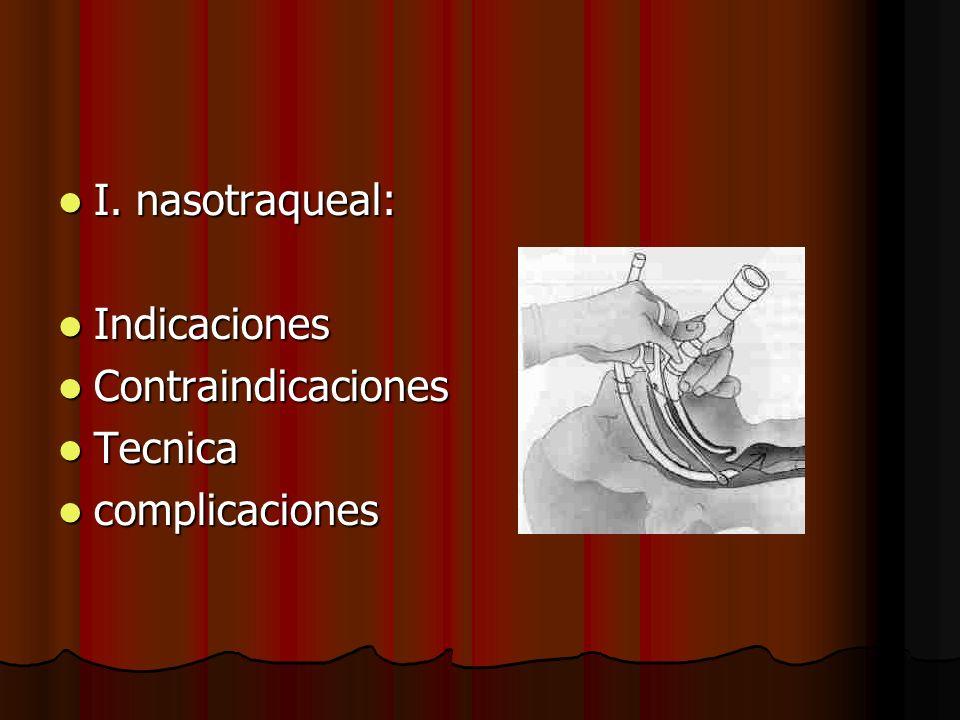 I. nasotraqueal: I. nasotraqueal: Indicaciones Indicaciones Contraindicaciones Contraindicaciones Tecnica Tecnica complicaciones complicaciones