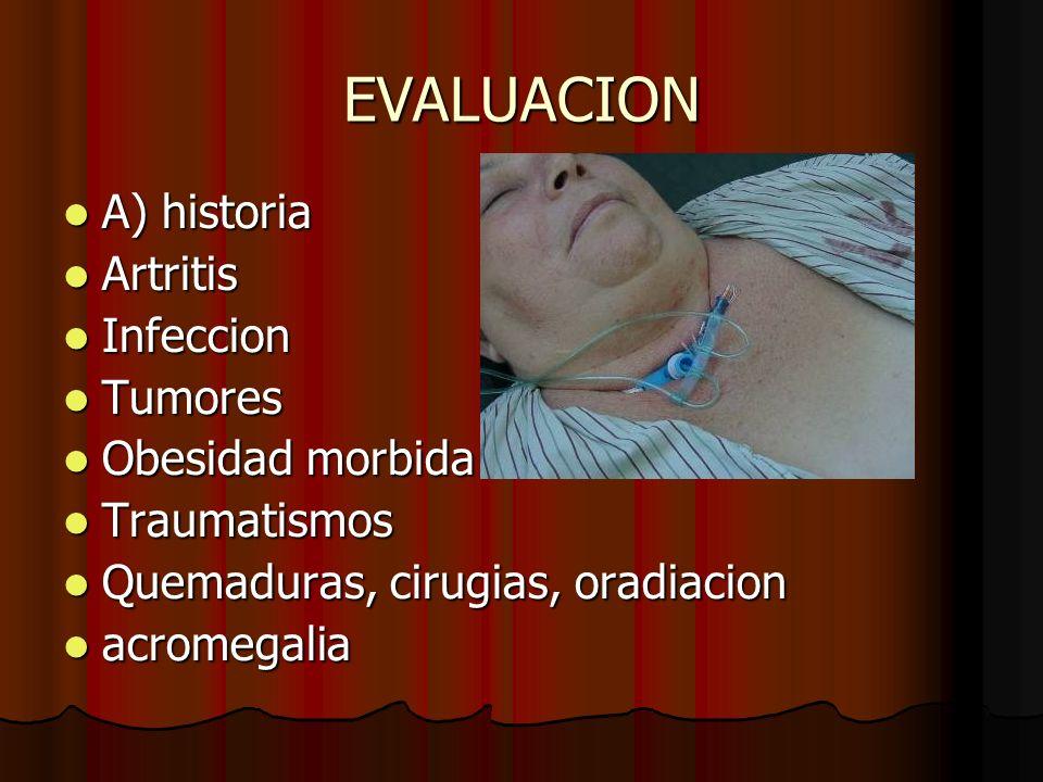EVALUACION A) historia A) historia Artritis Artritis Infeccion Infeccion Tumores Tumores Obesidad morbida Obesidad morbida Traumatismos Traumatismos Q