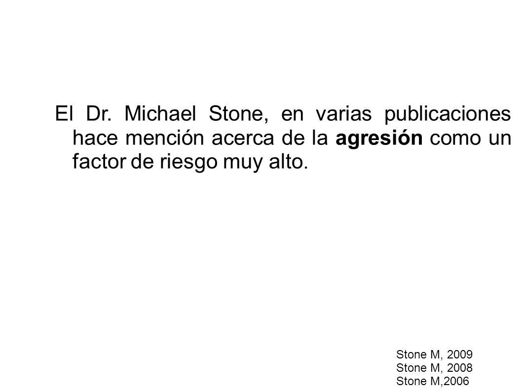 El Dr. Michael Stone, en varias publicaciones hace mención acerca de la agresión como un factor de riesgo muy alto. Stone M, 2009 Stone M, 2008 Stone