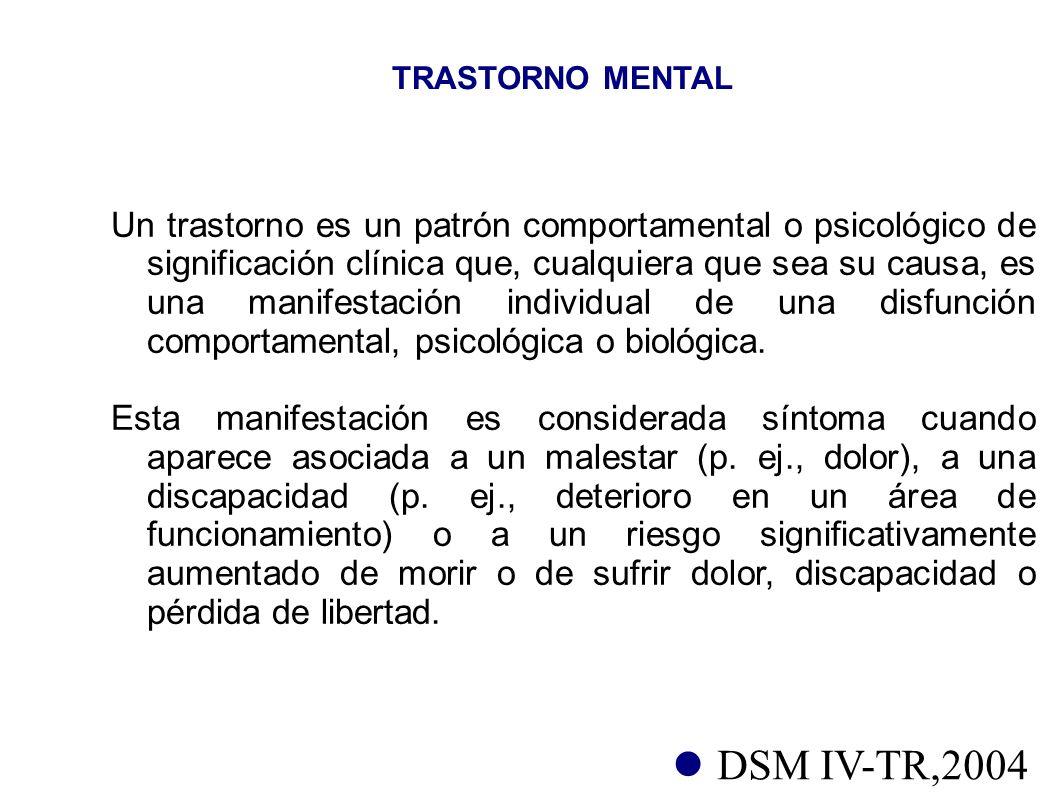 TRASTORNO MENTAL Un trastorno es un patrón comportamental o psicológico de significación clínica que, cualquiera que sea su causa, es una manifestació