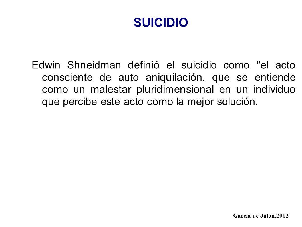 SUICIDIO Edwin Shneidman definió el suicidio como